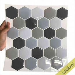 Placa de Pastilha Adesiva Resinada Hexagonal Fendi Rejunte Branco 26,5cm x 33cm