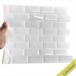 Placa de Pastilha Adesiva Resinada Mini Metrô White Rejunte Branco  - 29cm x 29cm