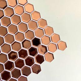 Placa de Pastilha Adesiva Resinada Hexagonal Mini Rose Gold metalizada espelhada -  28,5cm x 27cm