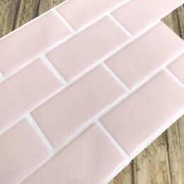 Placa de Pastilha Adesiva Resinada Metrô Rose Rejunte Branco  - 26cm x 32,5cm