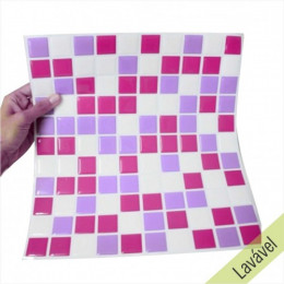 Placa de Pastilha Adesiva Resinada Lilás, Rosa e Branco - 28,5cm x 31cm