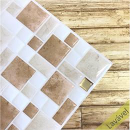 Placa de Pastilha Adesiva Resinada Mosaico Pedra Rose, Branco e Dourado - 28,5cm x 31cm