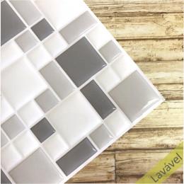 Placa de Pastilha Adesiva Resinada Mosaico Tons Claros - 28,5cm x 31cm