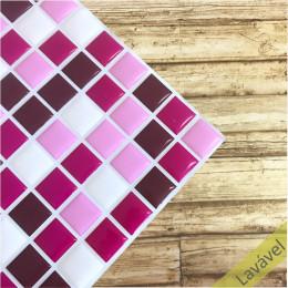 Placa de Pastilha Adesiva Resinada Tons de Rosa - 28,5cm x 31cm