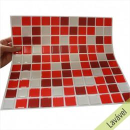 Placa de Pastilha Adesiva Resinada Vermelha, Bordô e Gelo - 28,5cm x 31cm