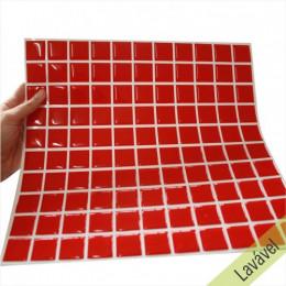 Placa de Pastilha Adesiva Resinada Vermelha - 28,5cm x 31cm