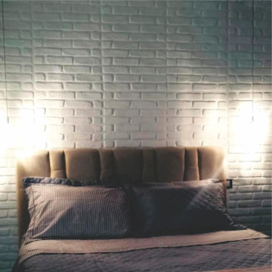 Resultado final de uma parede com placa 3D Dona Cereja, modelo Tijolo Rústico